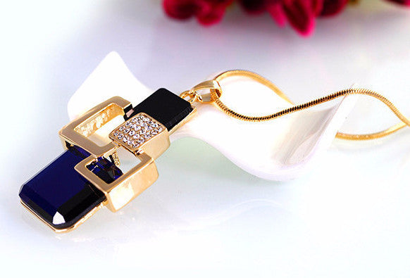 Golden Geometric Crystal Pendant