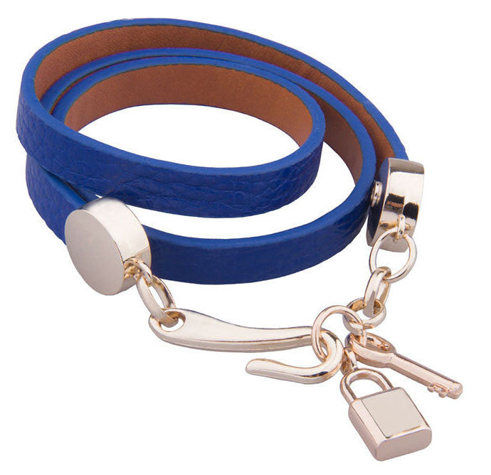 Wrap-around Lock & Key PU Leather Bracelet