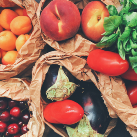 Fruit and Vegetables in brown paper bags
