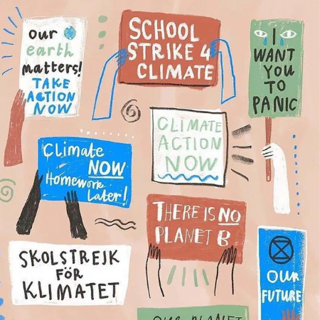 Illustrations of protestor signs calling for Climate Action
