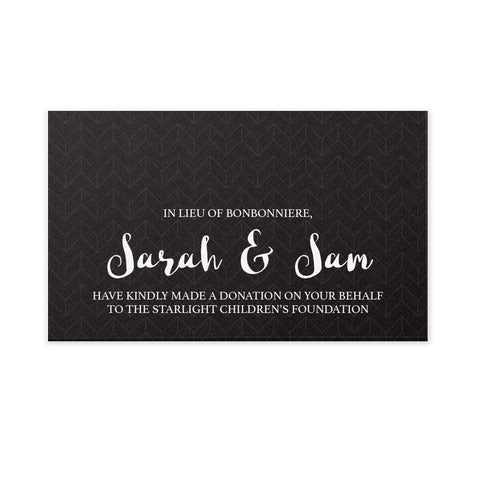 Wedding Bonbonniere Donation Card - Black Chevron