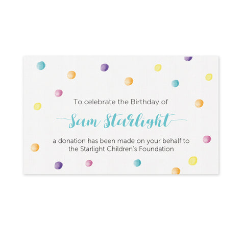 Celebration Bonbonniere Donation Card - Confetti