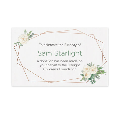 Celebration Favours Donation Card - Flower Deco