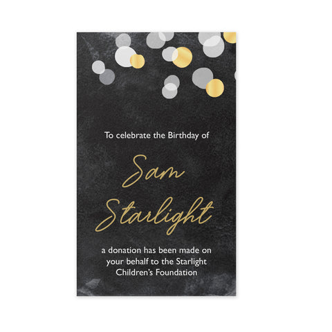 Celebration Bonbonniere Donation Card - Gold Confetti