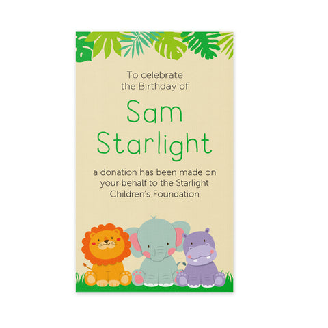 Celebration Bonbonniere Donation Card - Jungle Animals
