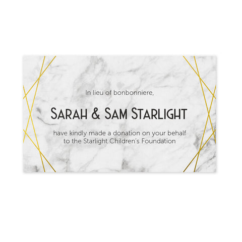 Wedding Bonbonniere Donation Card - Marble Deco