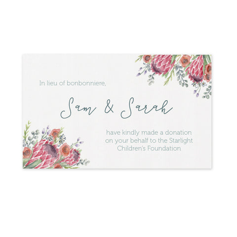 Wedding Bonbonniere Donation Card - Native Flowers