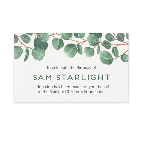 Celebration Favours Donation Card - Eucalyptus