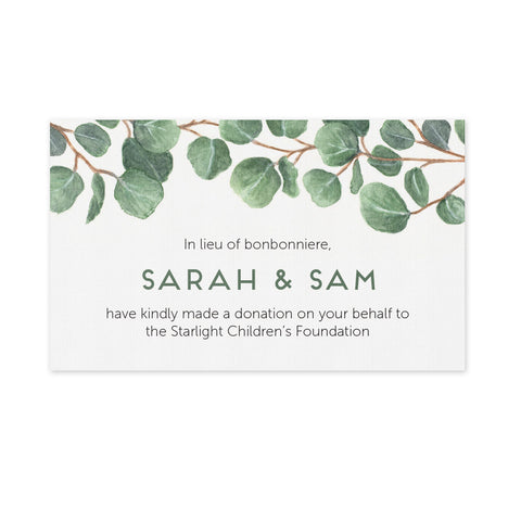 Wedding Bonbonniere Donation Card - Eucalyptus
