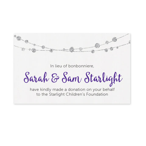 Wedding Bonbonniere Donation Card - Silver Garland