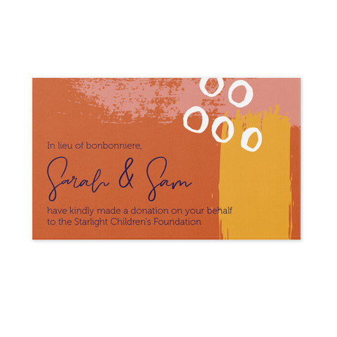 Wedding Bonbonniere Donation Card - Sunset Paint