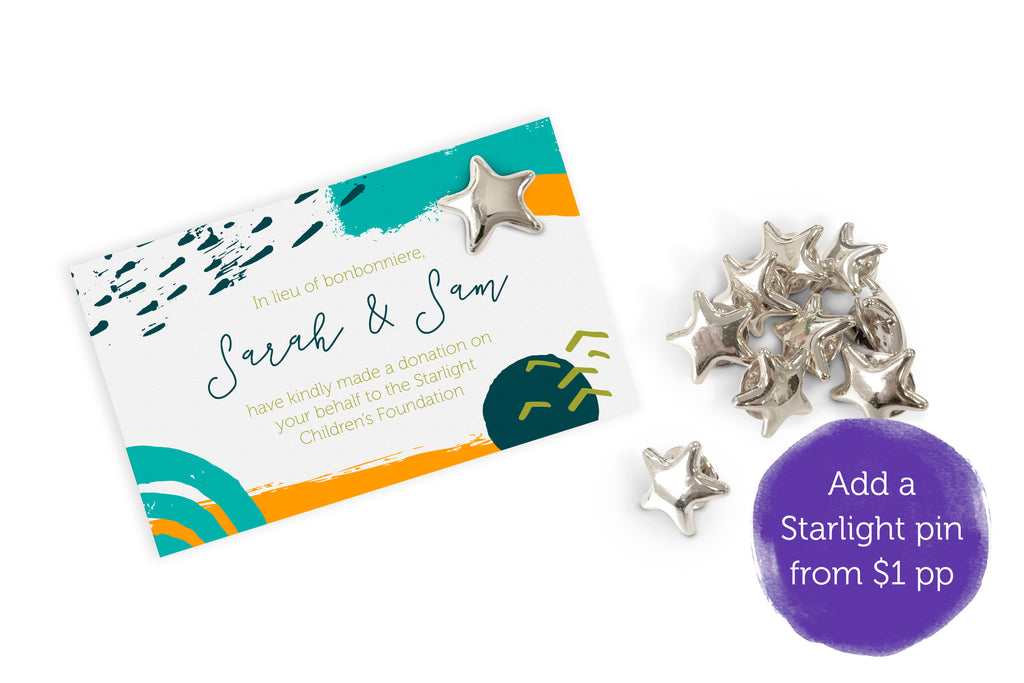 Wedding Bonbonniere Donation Card - Abstract Greens