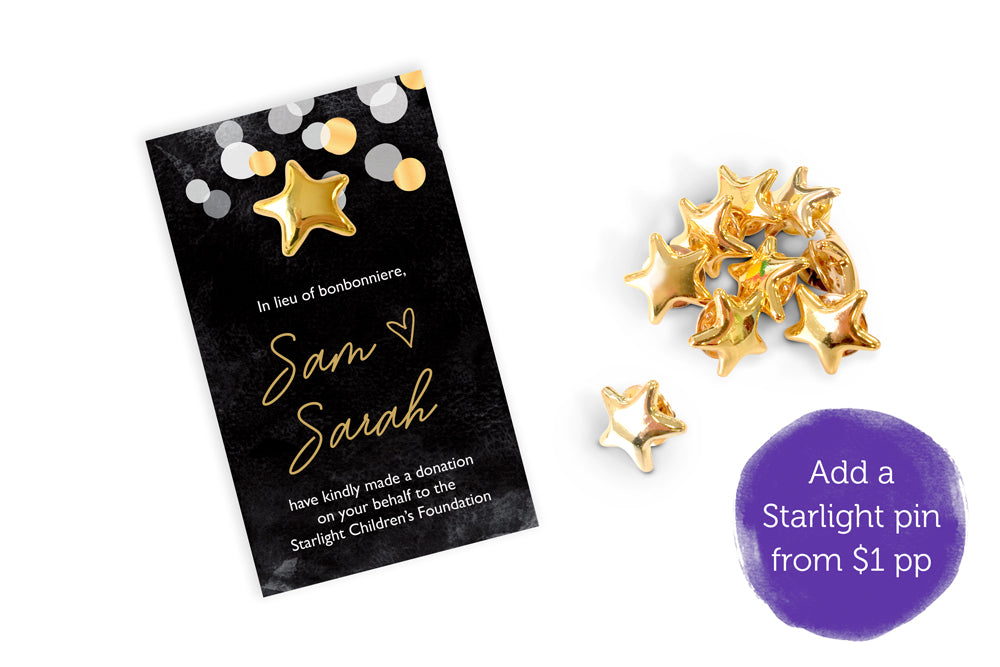Wedding Bonbonniere Donation Card - Gold Confetti