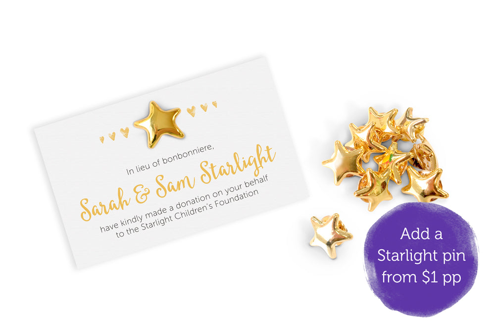 Wedding Bonbonniere Donation Card - Golden Hearts