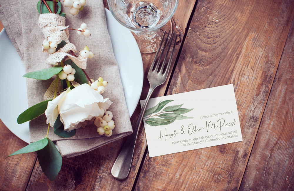 Wedding Bonbonniere Donation Card - Gum Leaf