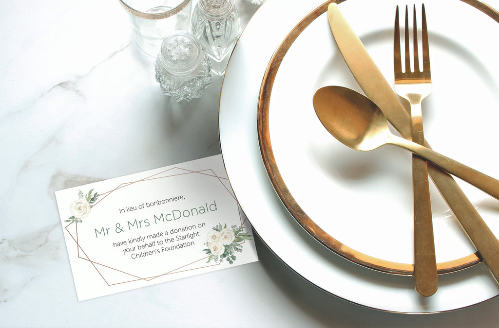 Wedding Bonbonniere Donation Card - Flower Deco