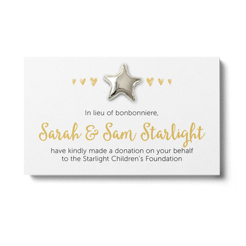 Wedding Favour Donation Card - Golden Hearts