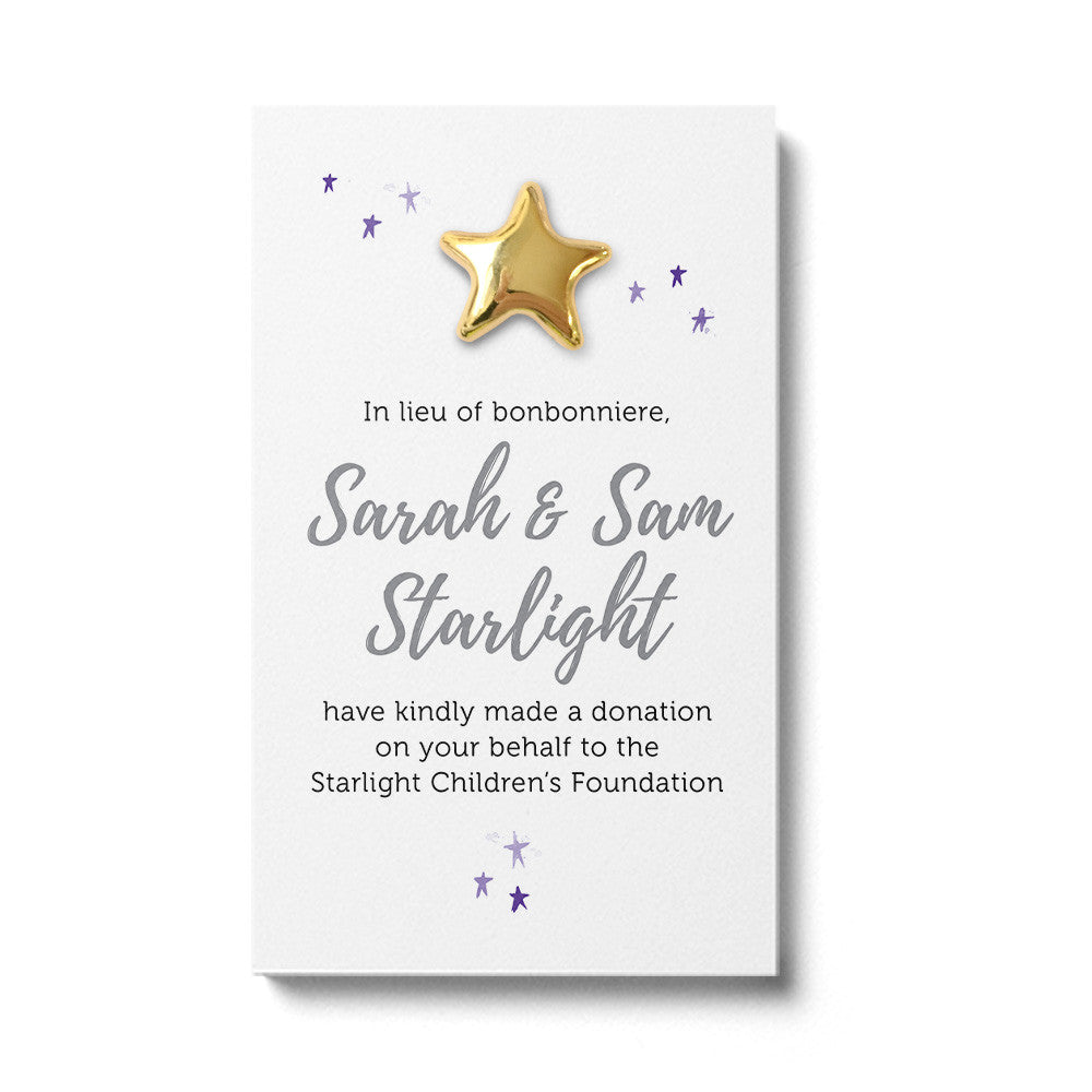 Wedding Favour Donation Card - Twinkle White