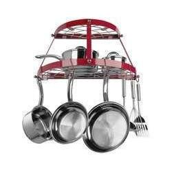 Range Kleen Double Shelf Wall Hanging Pot Rack - Red-CW6003R,The Kitchen's Edge.