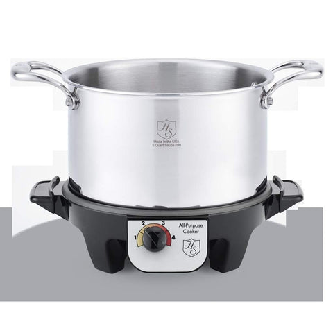 Hammer Stahl 5 Quart Stock Pot with Cover & Slow Cooker Base-HSC-14405SC,The Kitchen's Edge.