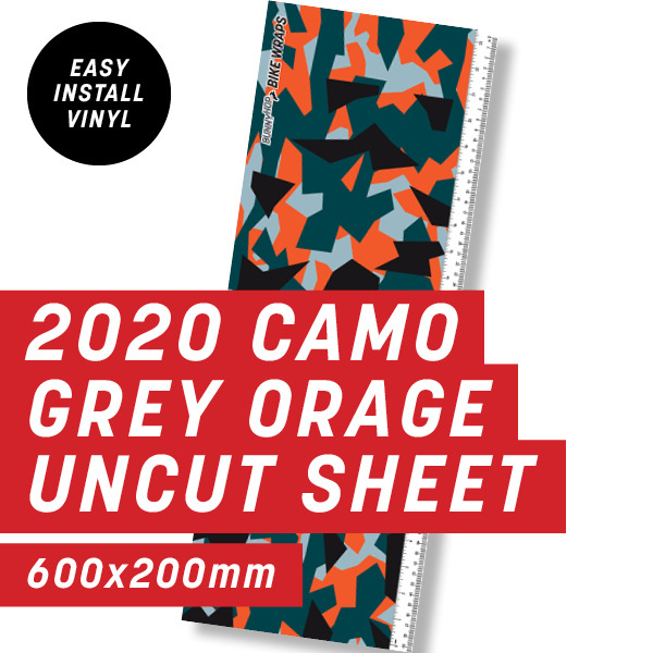 2020 Camo Grey Orange Uncut Sheet