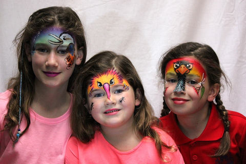Australian Animal Face Painting using Australian Outline stencils by Janie Fearon
