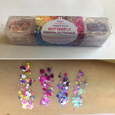 Essential Glitter Balm - BUTTERFLY PALETTE - Looney Bin Products