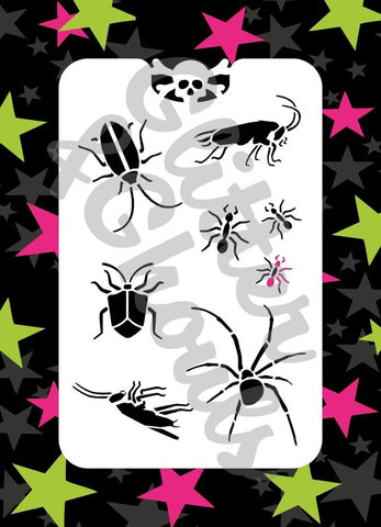 Glitter & Ghouls Stencils BUGS<br />9 x 14cm - Looney Bin Products