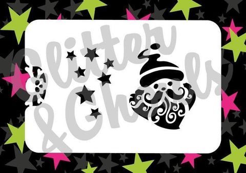 Glitter & Ghouls Stencils CURLY SANTA<br />8 x 10cm - Looney Bin Products