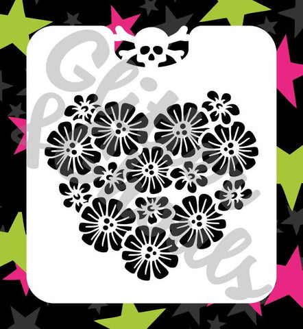Glitter & Ghouls Stencils BUNCH OF DAISIES<br />9.5 x 10.5cm - Looney Bin Products