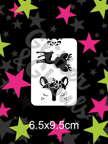 Glitter & Ghouls Stencils DEER ME - HOW CUTE 6.5 x 9.5cm - Looney Bin Products