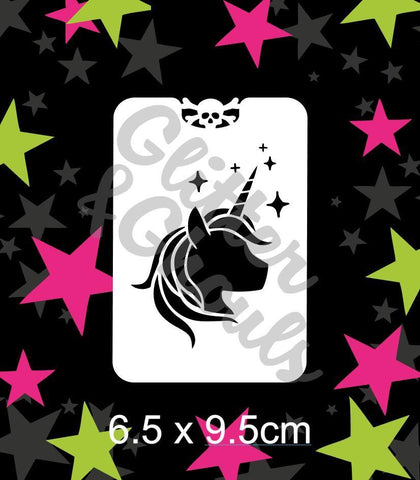 Glitter & Ghouls Stencils UNICORN HEAD 6.5 x 9.5cm - Looney Bin Products