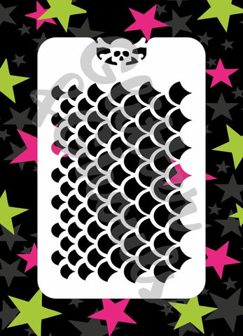Glitter & Ghouls Stencils MERMAID SCALES<br />9 x 14cm - Looney Bin Products