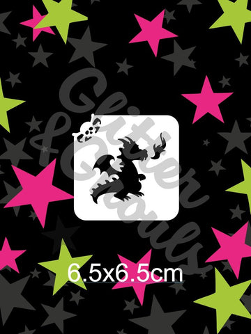 Glitter & Ghouls Stencils PUFFY THE DRAGON 6.5 x 6.5cm - Looney Bin Products