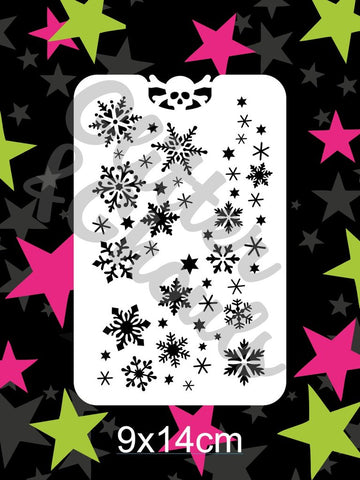 Glitter & Ghouls Stencils SNOWFLAKE BLIZZARD 9 x 14cm - Looney Bin Products