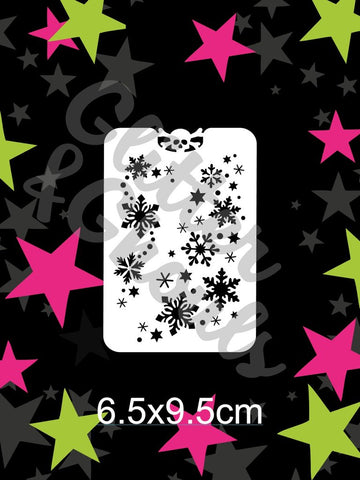 Glitter & Ghouls Stencils SNOWFLAKE SPRINKLE 6.5 x 9.5cm - Looney Bin Products