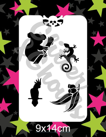 Glitter & Ghouls Stencils AUSSIE ANIMALS Group 1   9 x 14cm - Looney Bin Products