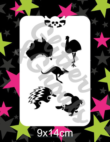 Glitter & Ghouls Stencils AUSSIE ANIMALS Group 3   9 x 14cm - Looney Bin Products