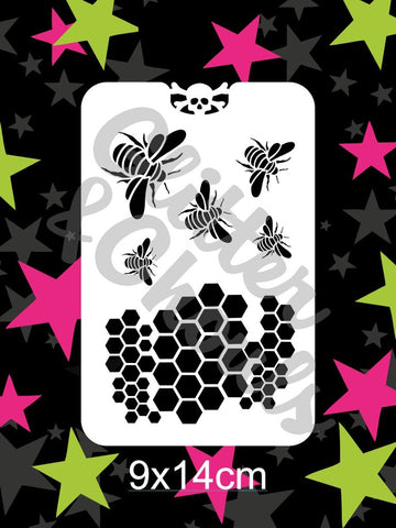 Glitter & Ghouls Stencils BEE HIVE  9 x 14cm - Looney Bin Products