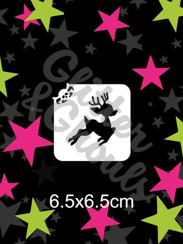Glitter & Ghouls Stencils CUTE REINDEER MINI 6.5 x 6.5cm - Looney Bin Products