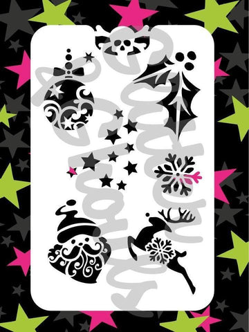 Glitter & Ghouls Stencils CHRISTMAS FUN 9 x 14cm - Looney Bin Products