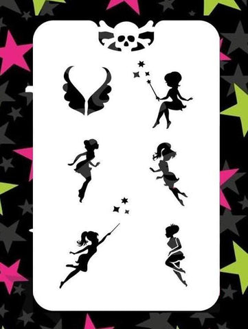 Glitter & Ghouls Stencils FAIRIES<br />9 x 14cm - Looney Bin Products