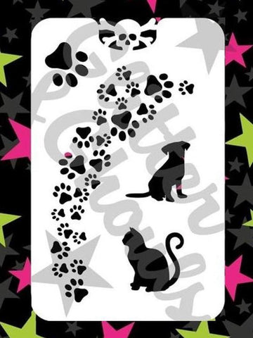 Glitter & Ghouls Stencils PAW PRINTS<br />9 x 14cm - Looney Bin Products