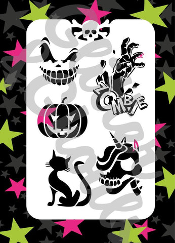 Glitter & Ghouls Stencils HALLOWEEN EXTRAS<br />9 x 14cm - Looney Bin Products