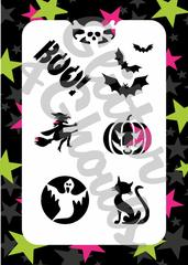 Glitter & Ghouls Stencils HALLOWEEN BASICS<br />9 x 14cm - Looney Bin Products