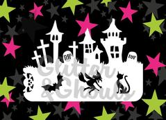 Glitter & Ghouls Stencils HALLOWEEN SKYLINE<br />9 x 14cm - Looney Bin Products