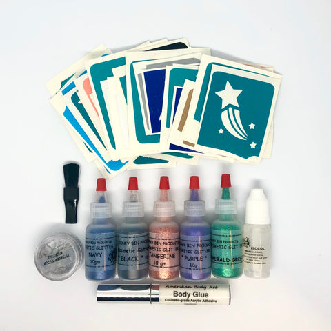 The Basic Glitter and Mica Tattoo Kit - Looney Bin Products