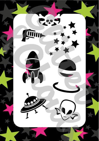 Glitter & Ghouls Stencils OUTTA SPACE<br />9 x 14cm - Looney Bin Products
