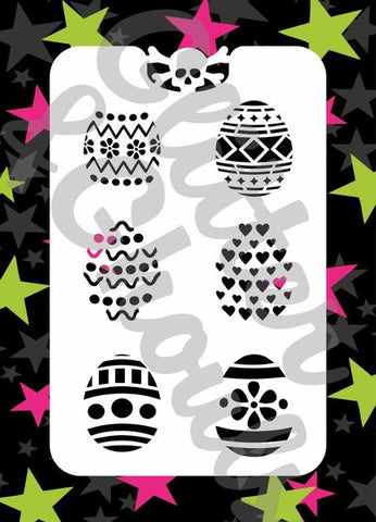 Glitter & Ghouls Stencils EASTER EGGS<br />9 x 14cm - Looney Bin Products