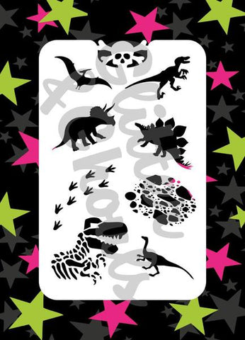 Glitter & Ghouls Stencils DINOSAURS<br />9 x 14cm - Looney Bin Products